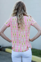 Cateye Pink and Yellow Top - Never Naked Boutique