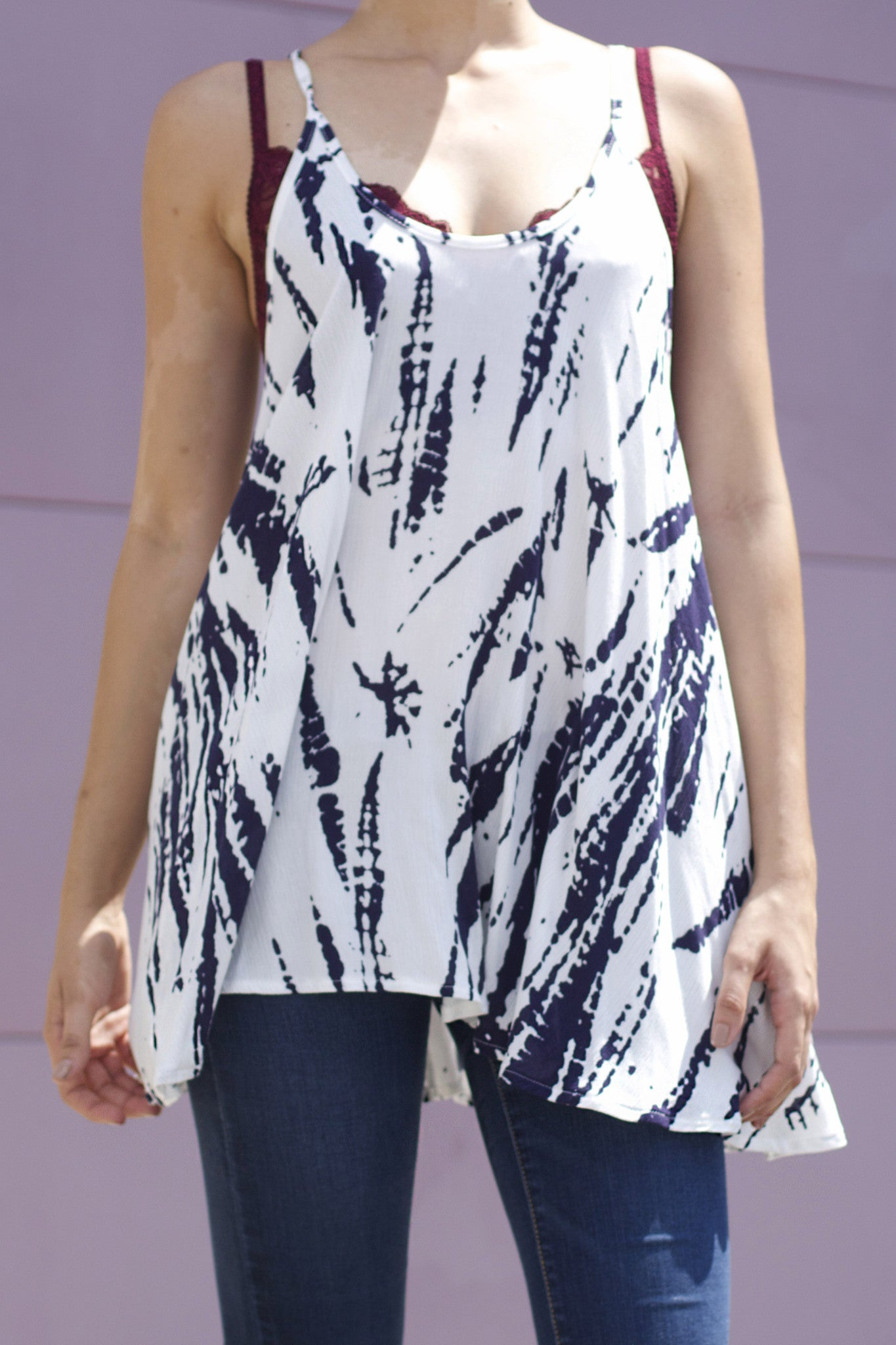 Navy Tie Dye Top - Never Naked Boutique