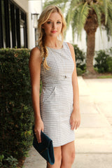 Grey Gingham Dress - Never Naked Boutique