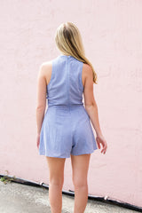 Denim Keyhole Romper - Never Naked Boutique