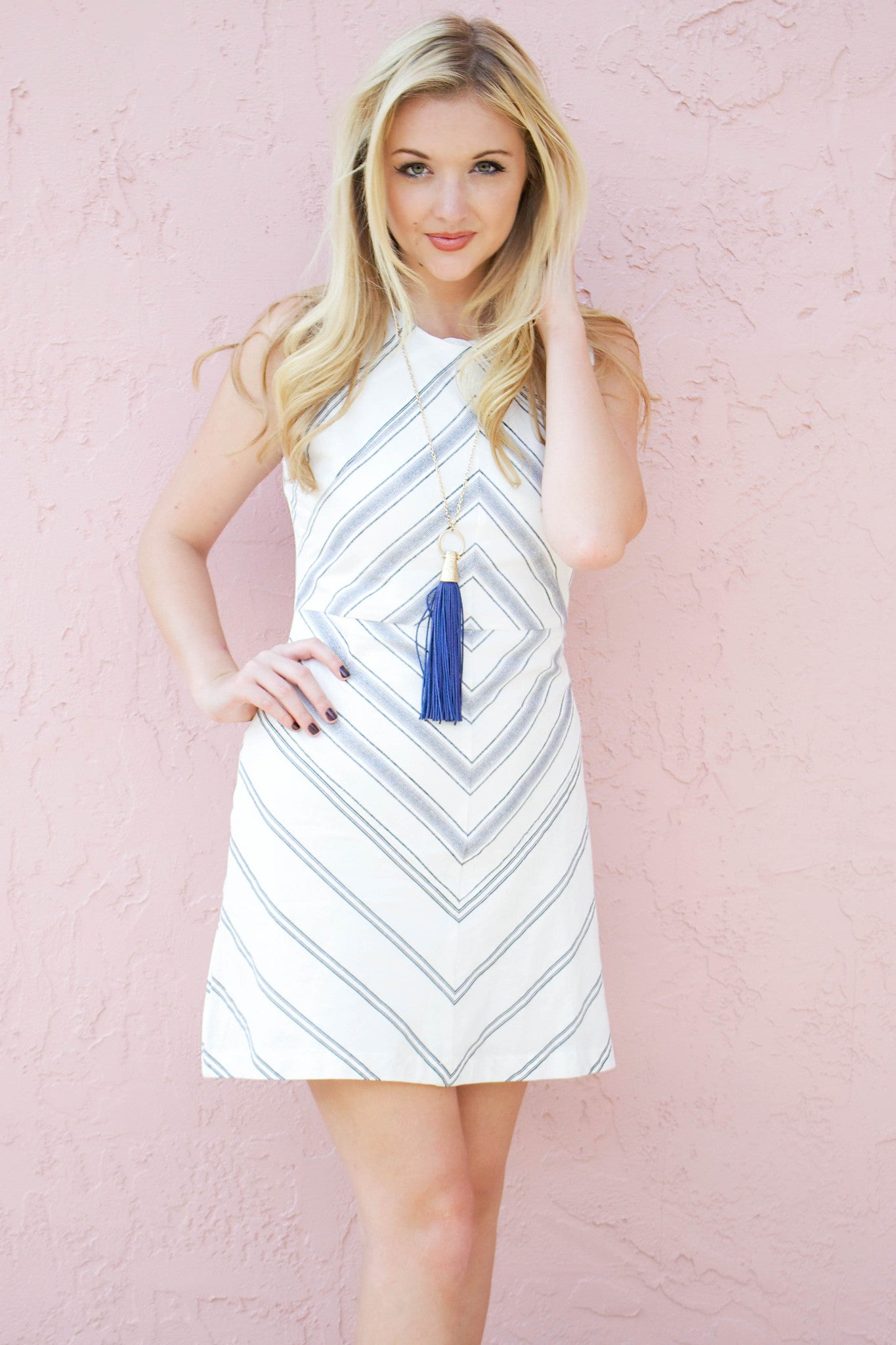 Navy Arrow Print Dress - Never Naked Boutique