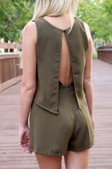 Olive Open Back Romper - Never Naked Boutique