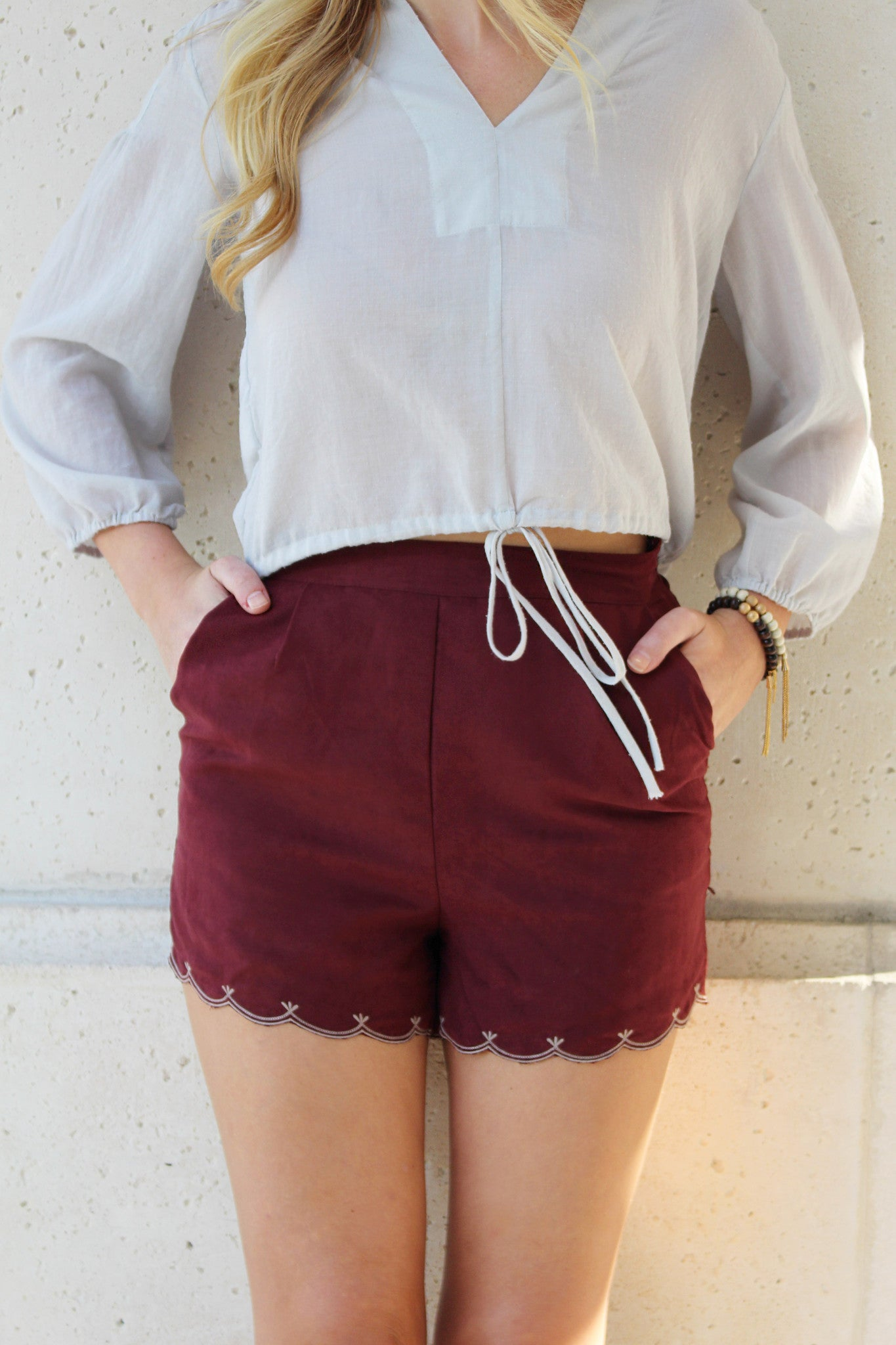 Swoon Over Maroon Shorts