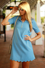 Sky Blue Scallop Dress