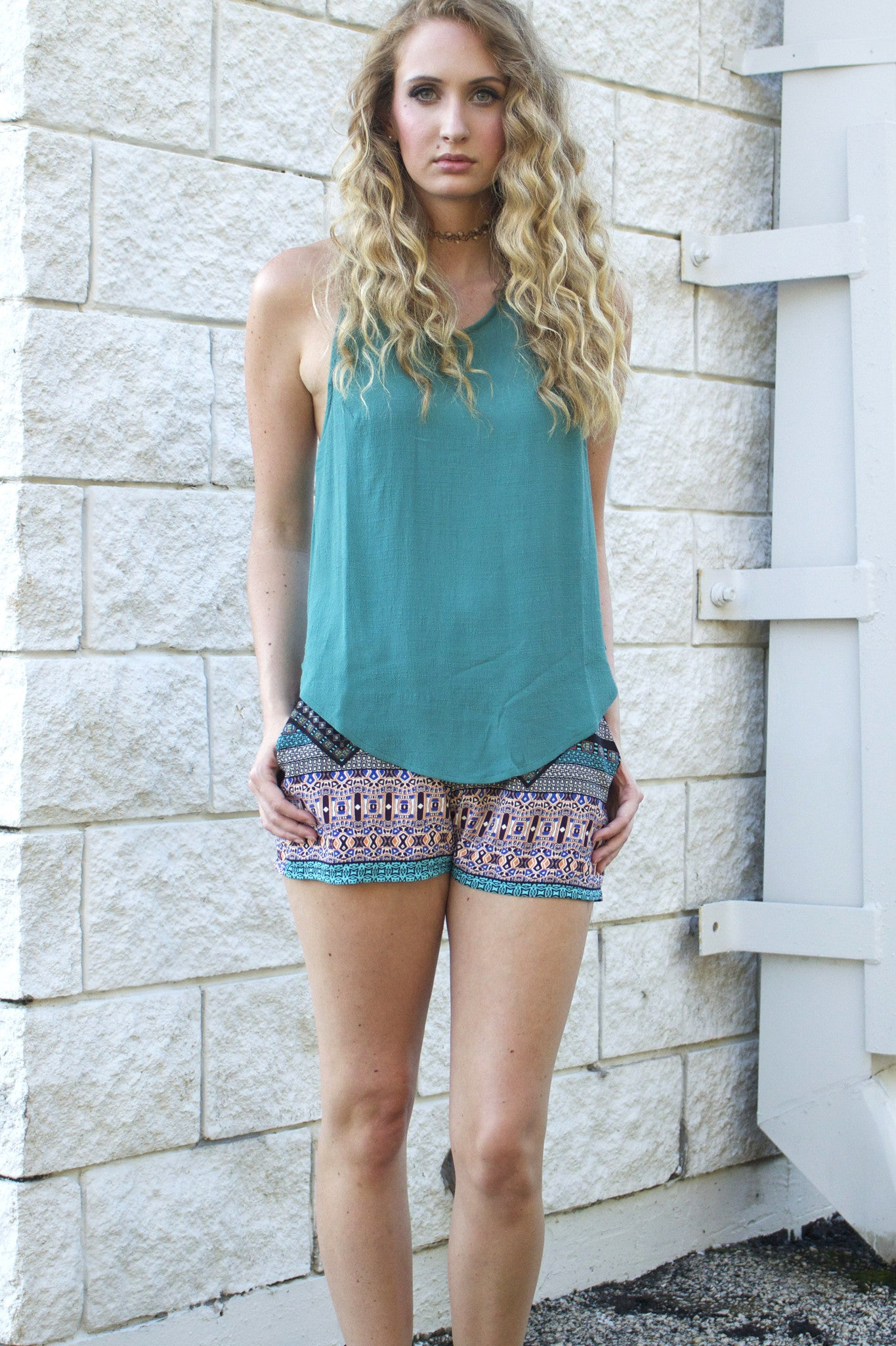 Teal Cross Back Top