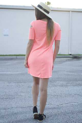 Neon Cold Shoulder Dress