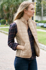 Camel Quilted Vest - Never Naked Boutique