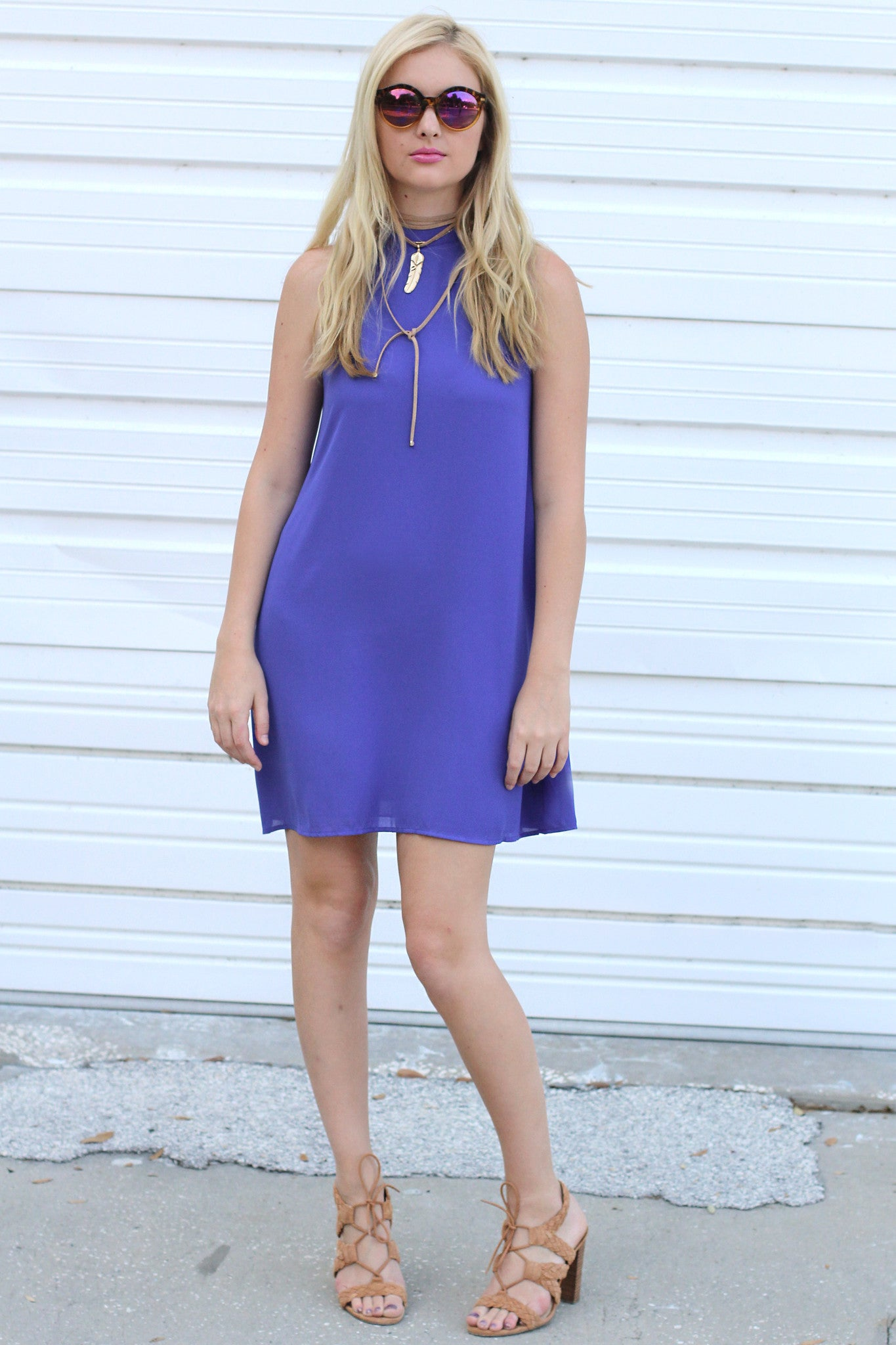 Purple Sleeveless Swing Dress
