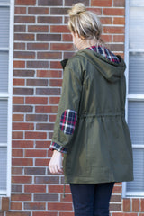 Olive Plaid Detail Jacket - Never Naked Boutique