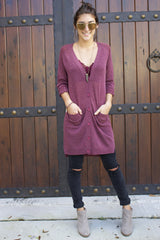Maroon Button Up Cardigan