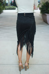 Black Suede Fringe Skirt - Never Naked Boutique