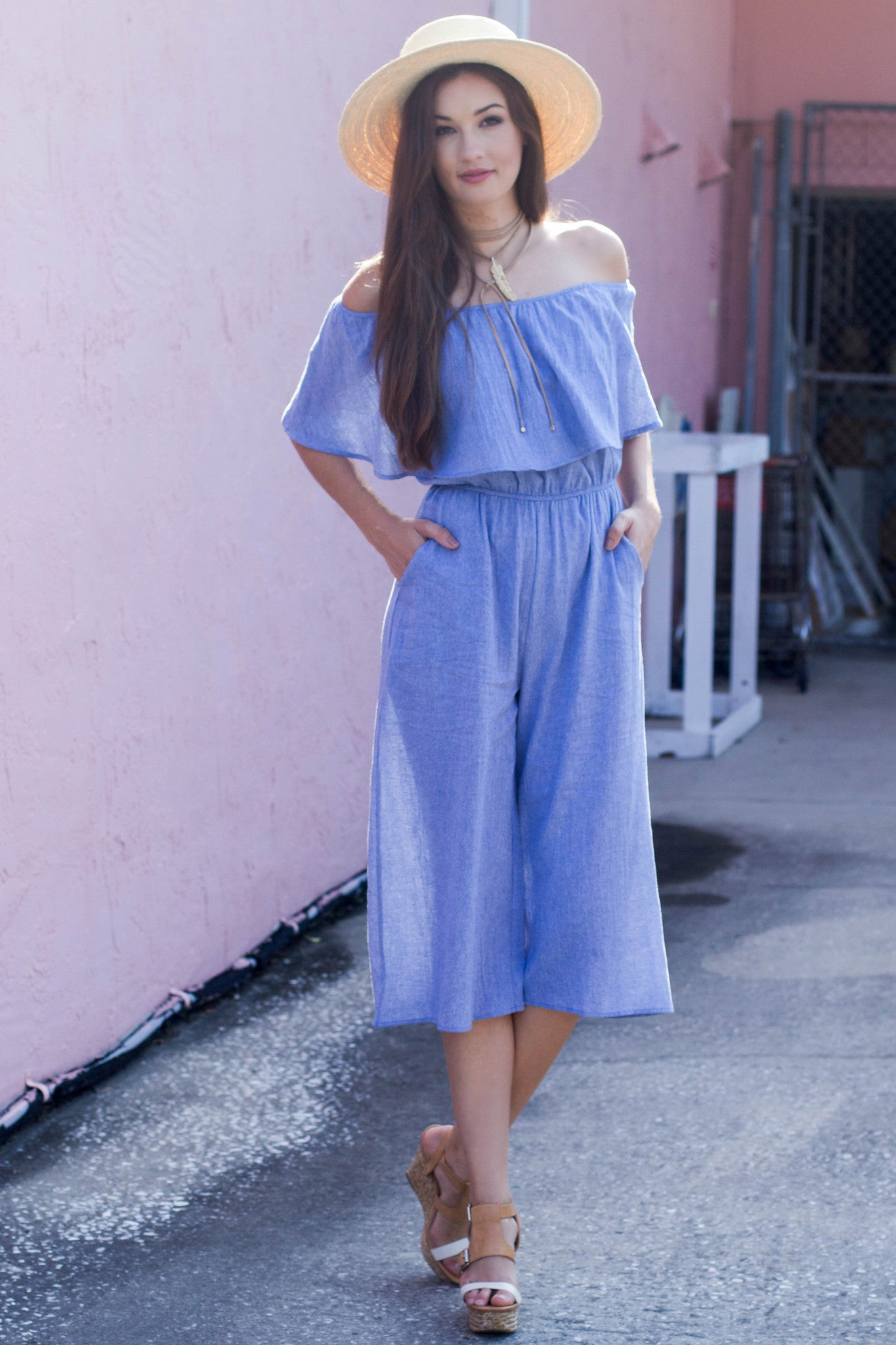 Denim Off The Shoulder Jumpsuit - Never Naked Boutique