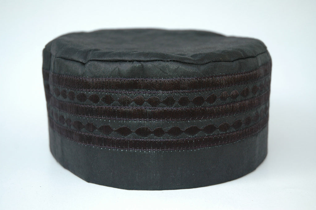 Black Brocade (Cotton) Kufi with black embroidery