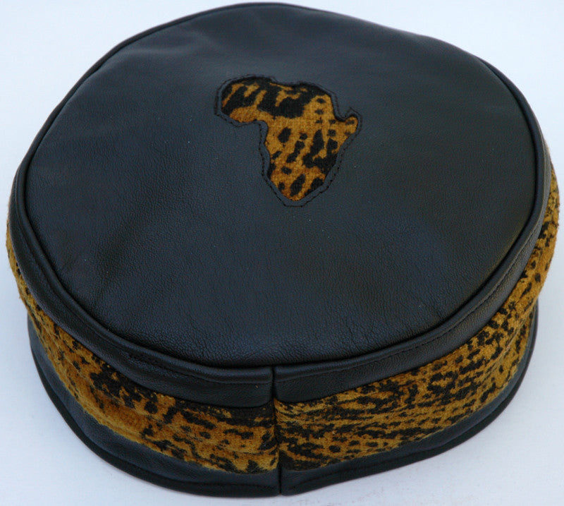 Black Leather & Mustard Mottled-Colored Mudcloth Kufi