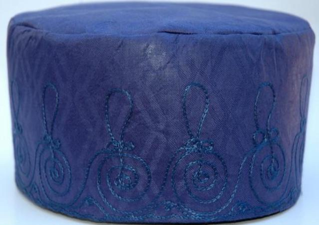 Blue Brocade (Cotton) Kufi with blue embroidery