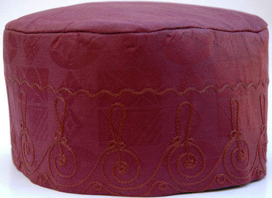 Burgundy Brocade (Cotton) Kufi with burgundy embroidery