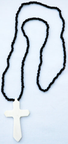 Cross in Bone Necklace on Beaded Chain
