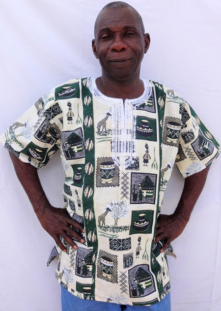 Dashiki - Green & Cream