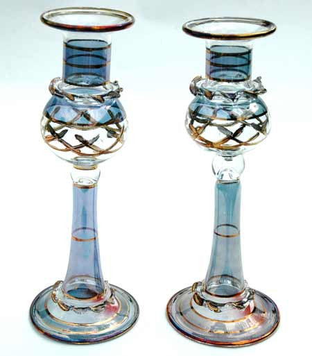Crystal Candle Holders in Blue and Gold