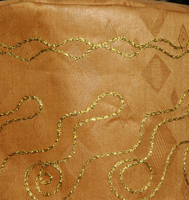 Gold Brocade (Cotton) Kufi with shiny gold embroidery