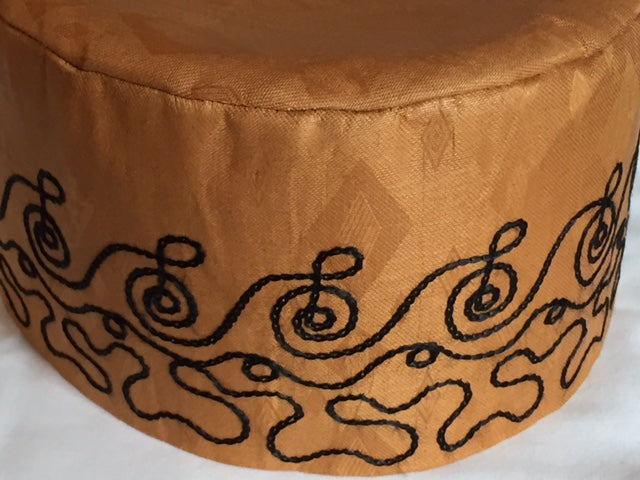 Tan Brocade (Cotton) Kufi with black embroidery