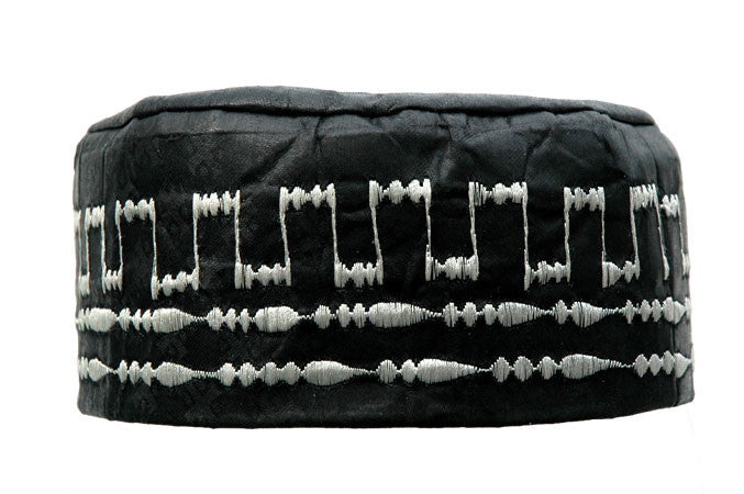 Black Brocade (Cotton) Kufi with silver embroidery
