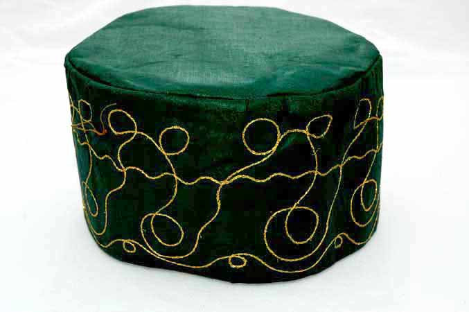 Forest Green Brocade (Cotton) Kufi with gold embroidery