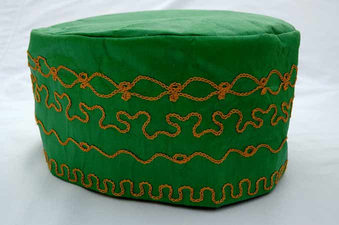 Green Brocade (Christmas Green) (Cotton) Kufi with gold embroidery