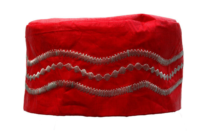 Red Brocade (Cotton) Kufi with silver embroidery