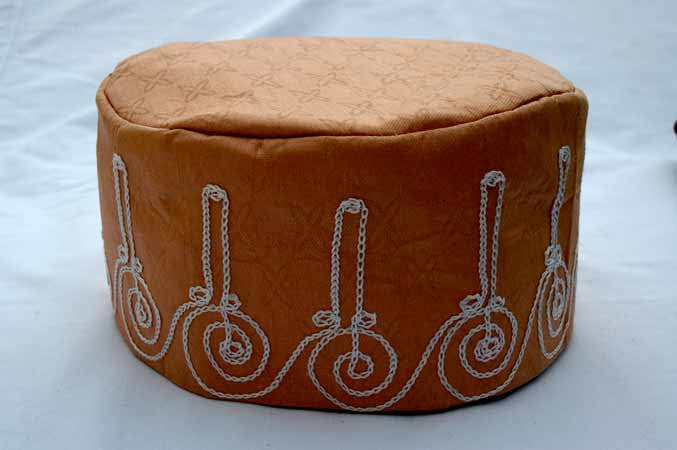 Tan Brocade (Cotton) Kufi with white embroidery