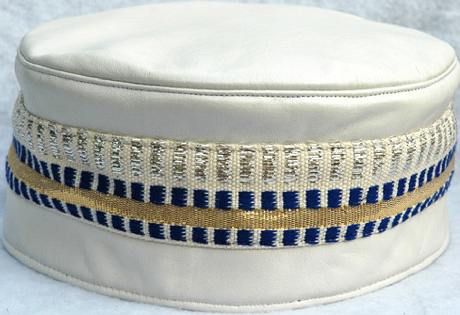 White Leather & Aso Oke Kufi