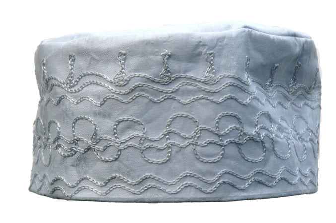 White Brocade (Cotton) Kufi with white embroidery