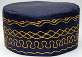Navy Blue Brocade (Cotton) Kufi with gold embroidery