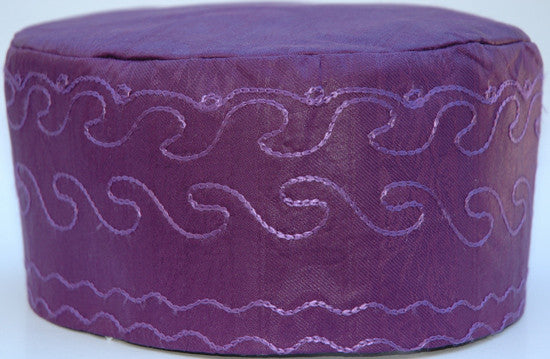 Purple Brocade (Cotton) Kufi with purple embroidery