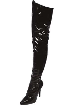 Black Pointed Toe Thigh High Boot 5in Heel Size 7