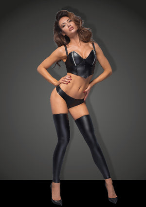 Power Wetlook Stockings And Panties With Silver Zipper