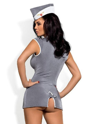 Stewardess Costume 3pcs Grey