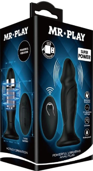 Powerful Vibrating Anal Plug (Black)