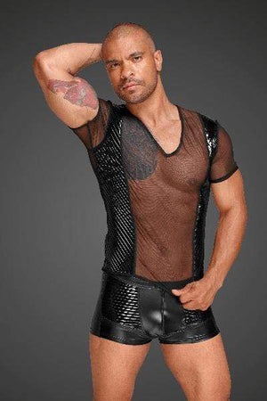 Noir Lingerie Small / Black Tulle Men Shirt With Decorative PVC Pleats