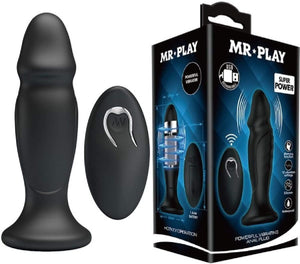 Pretty Love Rechargeable Powerful Vibrating Anal Plug (Black)