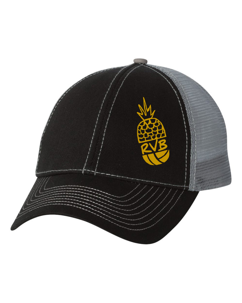 Trucker Cap Pineapple Two Tone Black/Grey Twill,Hats - Rox Volleyball