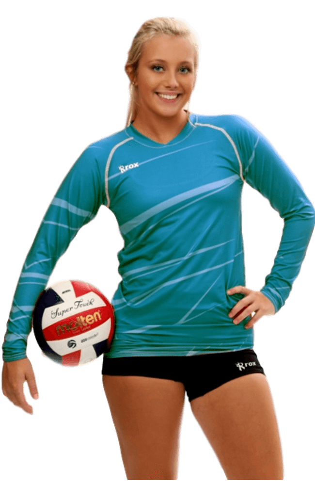 Women's Team Monochrome Volleyball Jersey in Teal| Rox Volleyball
