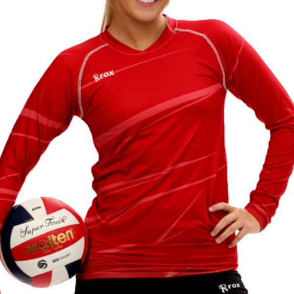 Monochrome Red Volleyball Jersey | 1111.23