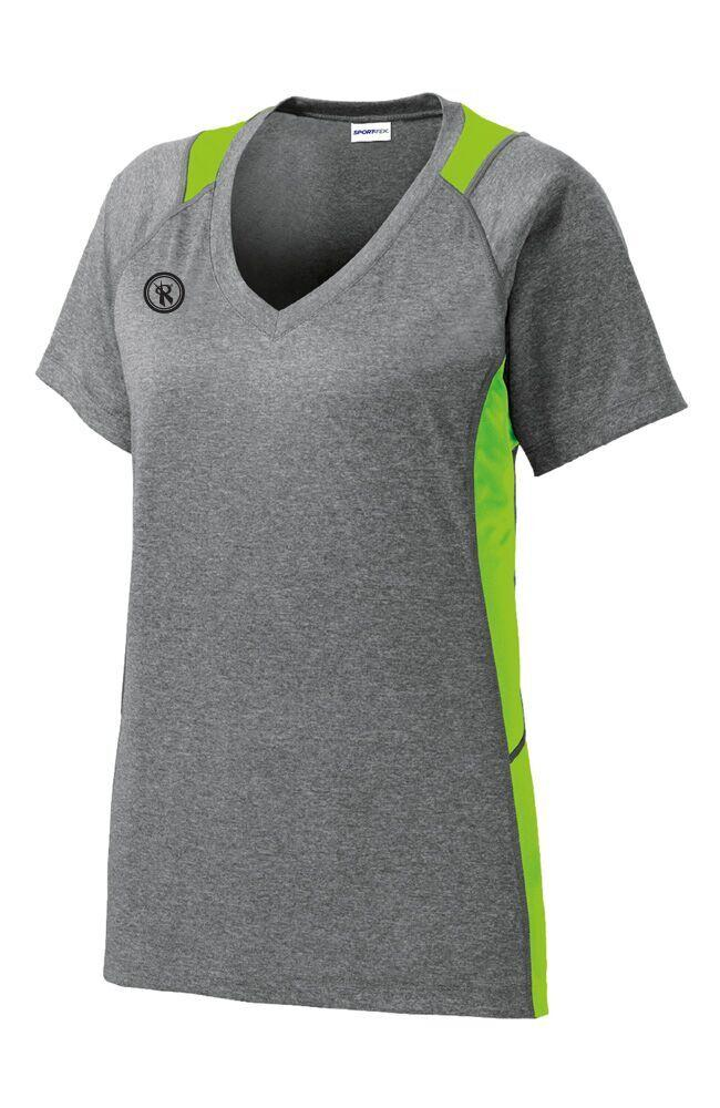 Womens Heather Color Block Contender Short Sleeve | LST361, - Rox Volleyball