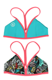 Mystify | 1471 | Salmon/Black Floral/ Lt. Turquoise Reversible,Beach Tops - Rox Volleyball
