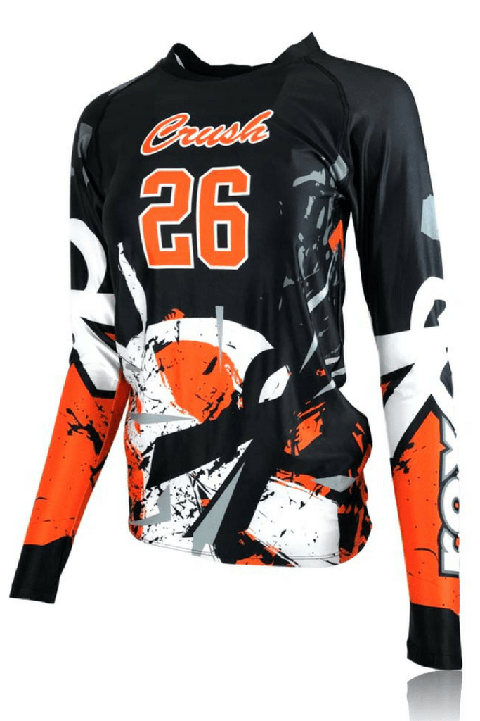 4a421292203 Shattered Custom Sublimated Women's Volleyball Jersey |Rox .