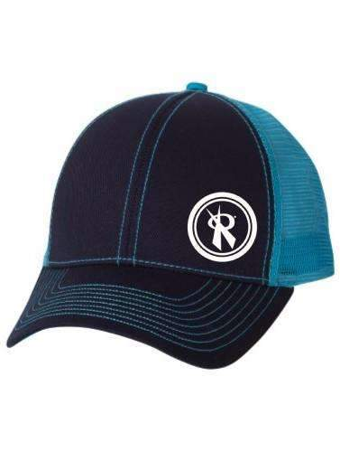 Two Tone Navy/Turquoise Twill Trucker Cap