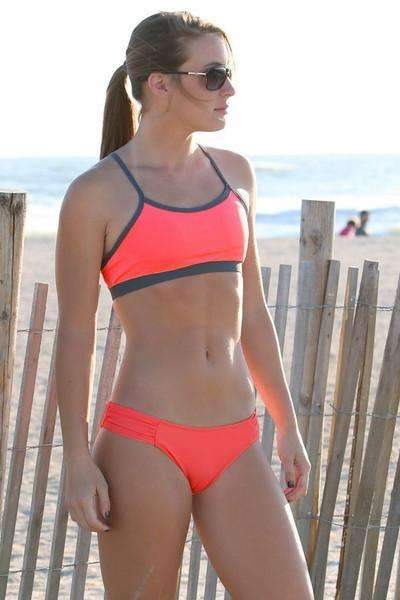Maia Top | 1466 | Salmon Granatina/Titanium,Beach Tops - Rox Volleyball