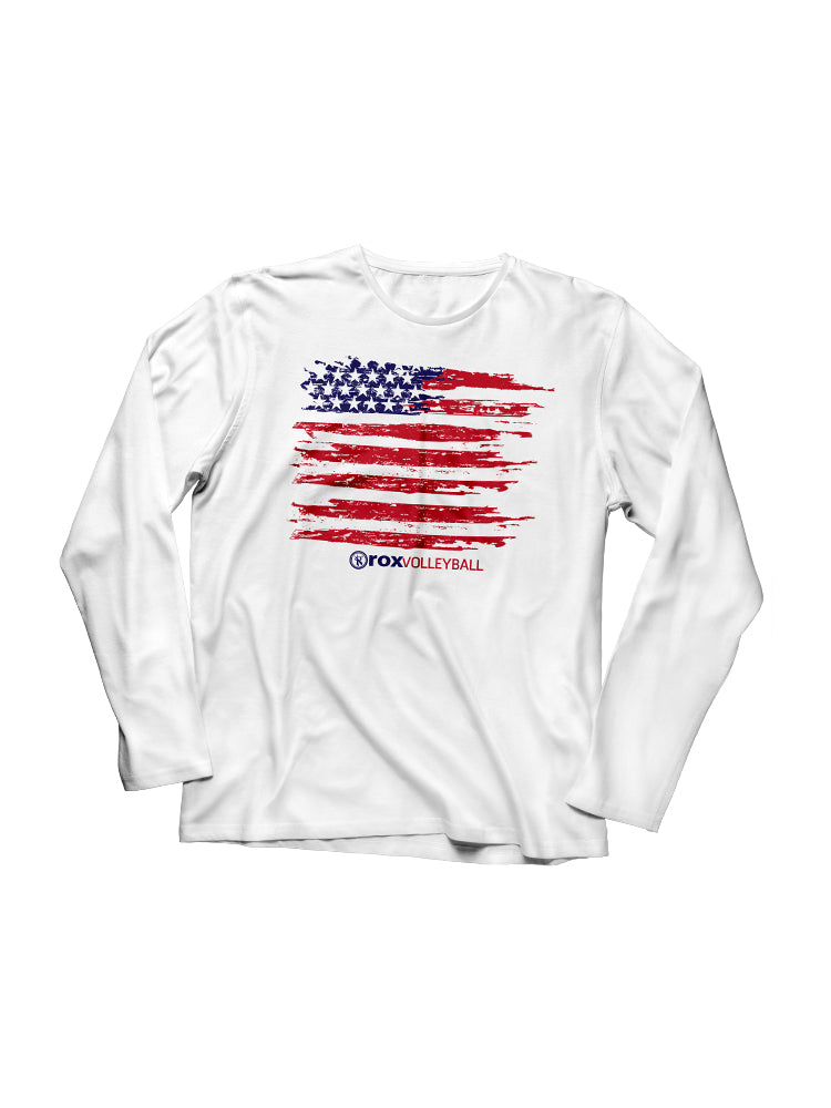American Flag L/S Shirt, - Rox Volleyball