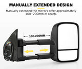 SAN HIMA Pair Extendable Towing Mirrors for Toyota Hilux 2005-2015 BLACK